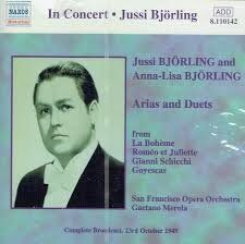 Jussi Bjorling / Anna Lisa Bjorling - Arias And Duets   /  Cd 1  Naxos Import